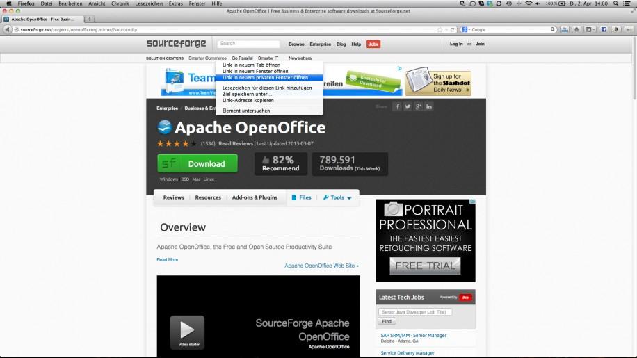 """Firefox 20 kann Links nun auch in einem """"Private Browsing""""-Fenster öffnen, ohne Neustart."""