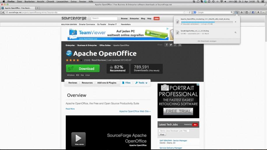 Der Gesmtfortschritt aller Downloads wird in Firefox 20 nun auch in der Menüleiste angezeigt.
