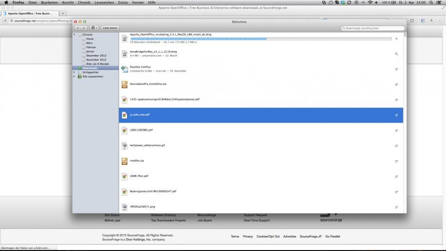 Die Downloads sind im selben Fenster untergebracht wie die Browser-Chronik.