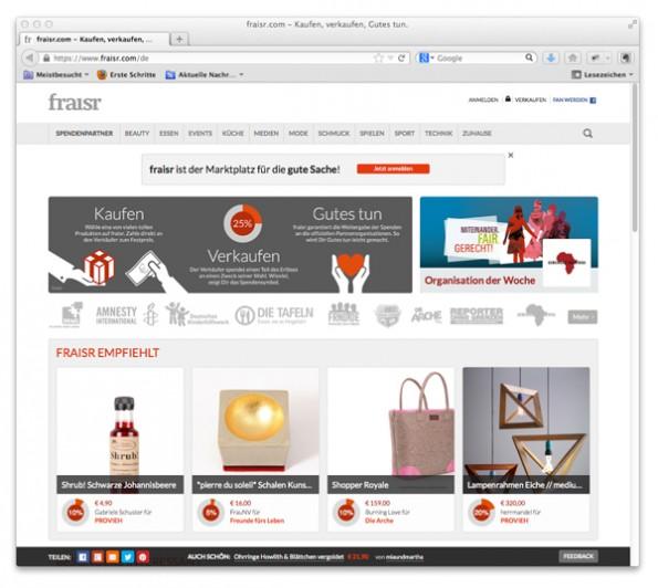 Der Onlinemarktplatz fraisr. (Screenshot fraisr)