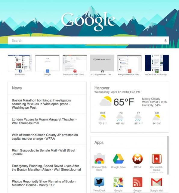 """Die Chrome-Erweiterung sorgt dafür, dass die """"Neuer Tab""""-Seite aussieht wie Google Now."""