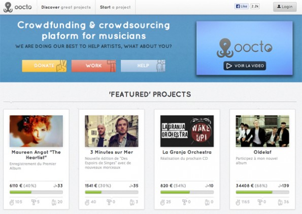 Crowdfunding und Crowdsourcing-Plattform für Musiker (Screenshot: oocto)
