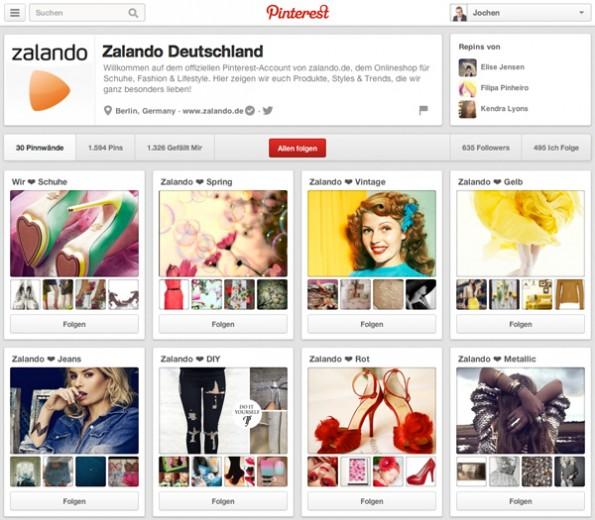 Zalando präsentiert einzelne Sortimente auf Pinterest. (Screenshot: Zalando/Pinterest)