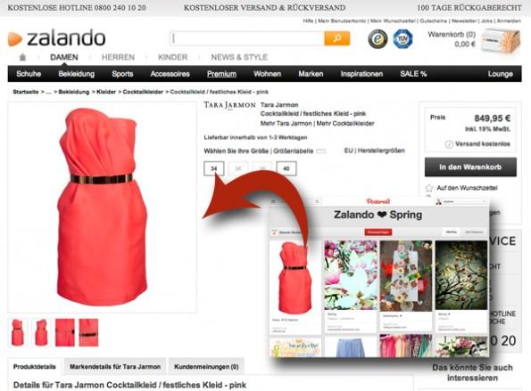 Zalando verlinkt Pins direkt mit dem Produkt im Onlineshop (Screenshot: Zalando/Pinterest)