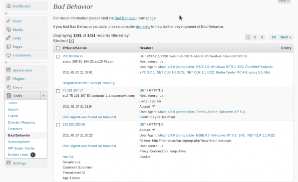 wordpress-sicherheit badbehavior