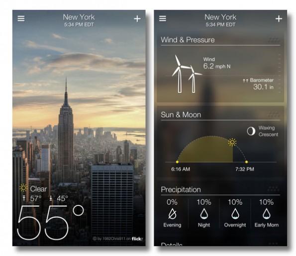 Die neue Wetter-App von Yahoo ist dank flickr-Integration optisch sehr schick.