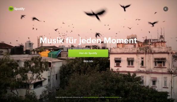 Eine Spotify Kampagnenseite setzt auf Video Hintergründe. (Screenshot: Spotify)