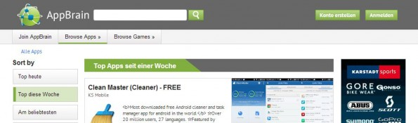 AppBrain kostenlose Android-Apps