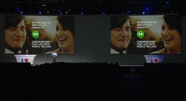 Vic Gundotra präsentierte während der Google I/O unter anderem Google Hangouts. (Screenshot: Livestream)