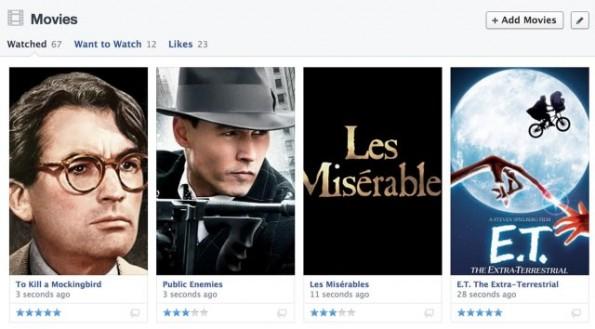 """In den Facebook-""""Sections"""" konnte man bisher nur sehen, welche Filme man mag. In Zukunft ist es sogar möglich zu bewerten, wie sehr man die Inhalte mag. (Quelle: Facebook)"""