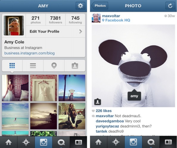 App-Ansicht der neuen Tagging-Funktion von Instagram. (Screenshot: Blog)