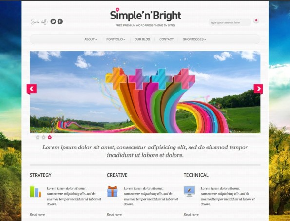 Simple'n'Bright ist ein farbenfrohes, responsives WordPress-Theme.