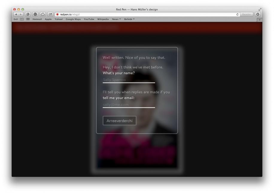 Wer will kann seinen Namen und eine E-Mail-Adresse hinterlegen. (Screenshot: redpen.io)