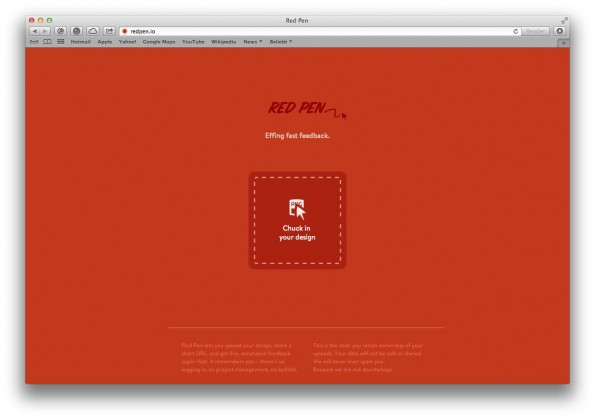 Design-Feedback in zwei Schritten: Datei hochladen, Link teilen. So einfach funktionier Red Pen. (Screenshot: redpen.io)