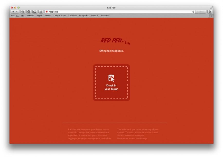 Die Startseite von Red Pen. Hier können Nutzer per Drag & Drop Dateien hochladen. (Screenshot: redpen.io)