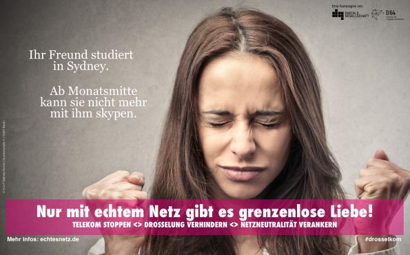 Kampagne für die Netzneutralität: Plakat des Digitale Gesellschaft e.V. und D64 – Zentrum für digitalen Fortschritt. (Quelle: echtesnetz.de)