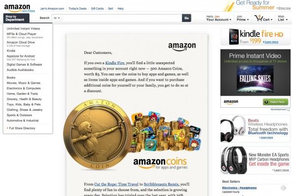 """Auf der US-Website bewirbt Amazon seine Coins mit einem der schon traditionellen """"persönlichen Briefe"""" des Firmenchefs Jeff Bezos."""