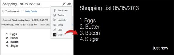 Mit Evernote für Google Glass kann man Notizen aus der Web-Anwendung in das Glass-Menu ziehen.