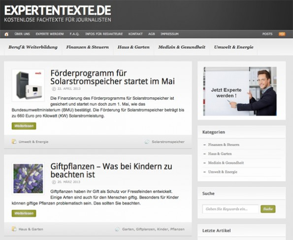 Expertentexte vermarktet Fachwissen (Screenshot: Expertentexte)