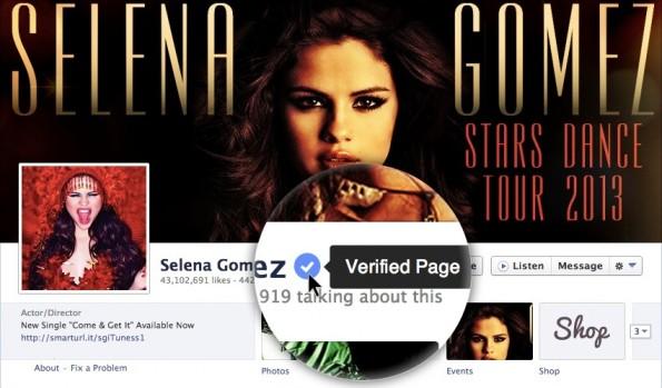 Beispiel für eine bestätigte Fanpage auf Facebook.