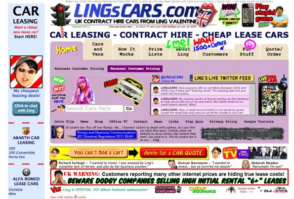 Lings Cars gehört definitiv zu den wirklich hässlichen Websites. Im Bild sieht das Ganze schon ziemlich übel aus, besucht man die Seite wird man darüber hinaus noch von automatisch startender Musik begrüßt und es blinkt an allen Ecken und Enden. (Screenshot: lingscars.com)