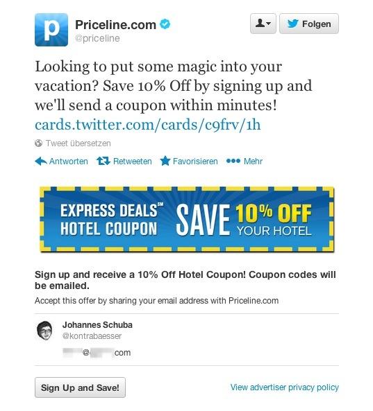 Die neue Lead Generation Card von Twitter funktioniert einfach und bringt viele Vorteile mit sich. (Bildquelle: Screenshot twitter.com)