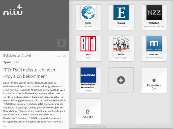 Die personalisierte Tageszeitung Niiu beinhaltet derzeit 23 Publikationen, aus denen Nutzer ihre eigene digitale Ausgabe zusammen stellen können.