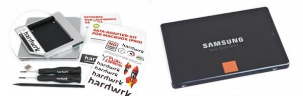 Das Raketenstipendium bestehend aus dem hardwrk-Einbaukit under Samsung 840 SSD.