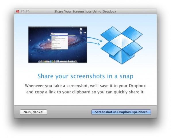 Verschiebt der Benutzer beispielsweise einen Screenshot in die Dropbox, bietet dieses Fenster das Einrichten des automatischen Teilens von Screenshots an. (Screenshot: Dropbox)