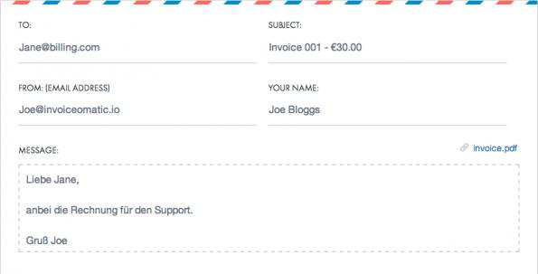Mit dem Rechnungsvorlage-Template lassen sich Kostenaufstellungen leicht erstellen und schnell verschicken. (Screenshot: invoiceomatic.io)