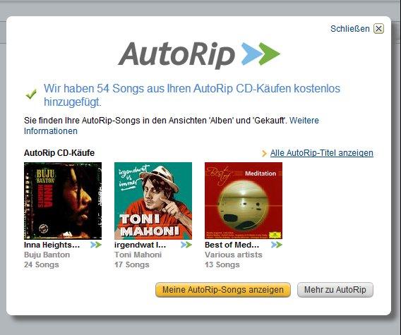Amazon Autorip: Auch bereits gekaufte CDs können heruntergeladen werden. (Screenshot: Amazon)