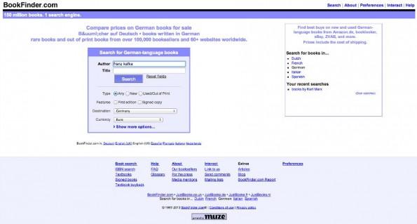 Bookfinder: Die Suchmaschine für Bücherfreunde. (Screenshot: Bookfinder)