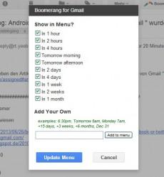 Boomerang: Die Browser-Erweiterung erweitert GMail um einige praktische Features. (Screenshot: GMail/Boomerang)