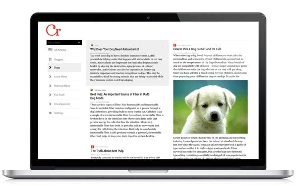 Der Curata Reader auf dem Desktop. Eine zweispaltige Ansicht mit minimalistischem Design. (Bildquelle: Curata)