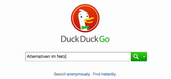 DuckDuckGo ist eine alternative Suchmaschine, die die Daten der Suchenden anonymisiert abspeichert. (Screenshot: DuckDuckGo)