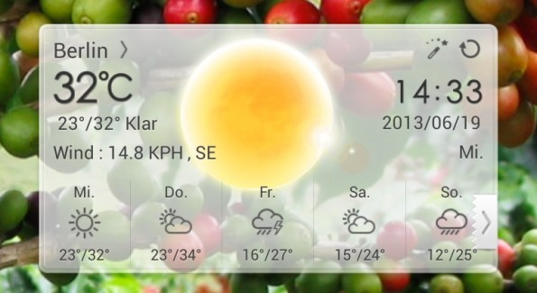 Android: Die Oberfläche könnt ihr ganz nach euren Bedürfnissen anpassen. (Screenshot: Go Weather Ex)