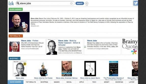 izik: Suchergebnisse werden nach Kategorien aufgeteilt. (Screenshot: izik)