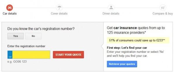 Google Compare: Auch in Deutschland möchte der Suchgigant KFZ-Versicherungsvergleiche anbieten. (Screenshot: Google)
