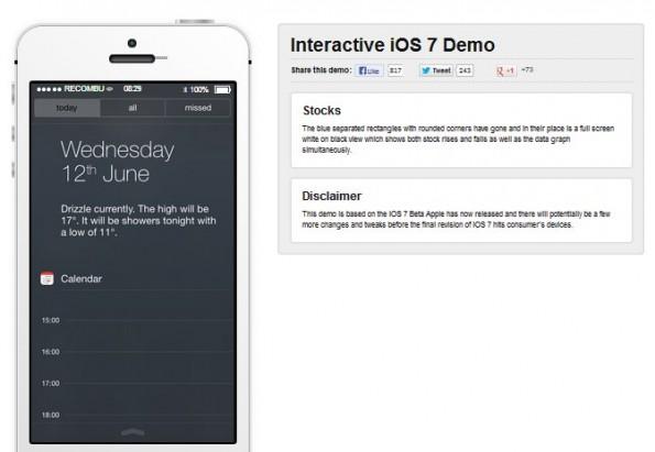 Die interaktive Demo im Browser gibt euch einen Überblick über die Änderungen un iOS 7. (Screenshot: Recombu)
