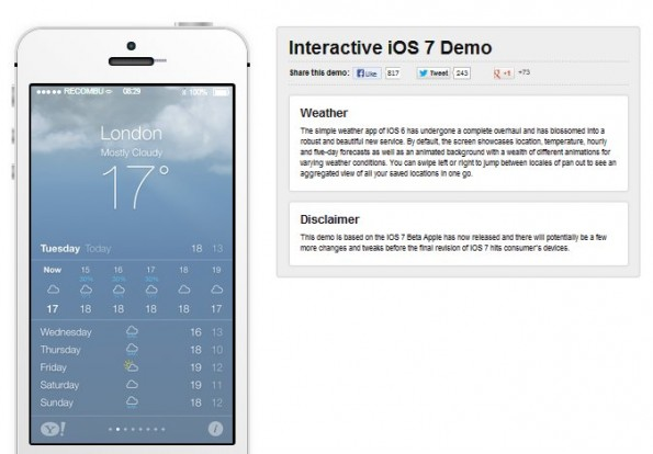 Hier die Wetteranzeige in iOS 7. (Screenshot: Recombu)