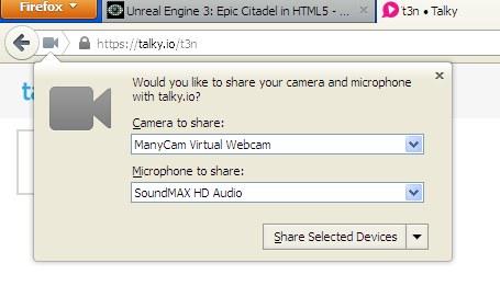 Firefox: Dank WebRTC kann man Webcam und Mikros ohne Plug-Ins nutzen. (Screenshot: Mozilla Firefox 22)