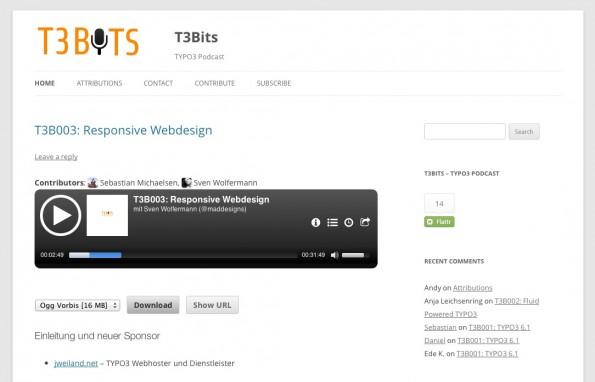 Die dritte Episode von T3Bits behandelt das Thema responsive Webdesign. (Screenshot: t3bits.de)