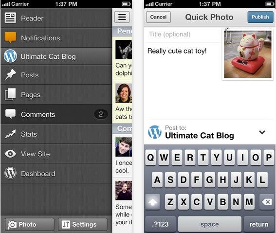 Version 3.6 von WordPress für iOS bringt unter anderem eine Seitenleiste mit, die das Erstellen neuer Beiträge beschleunigen soll.