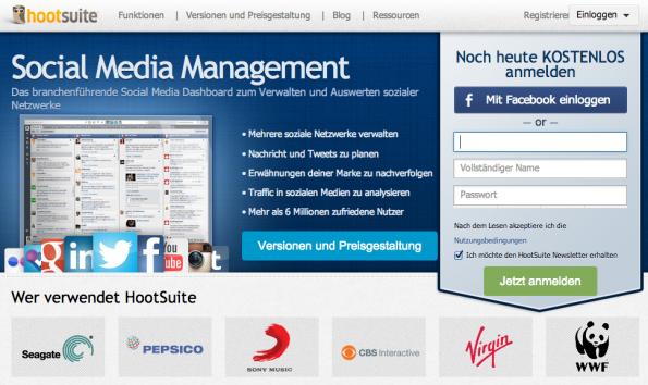 Im Anmeldebereich der HootSuite kann man sich manuell oder via Social Login einen Account anlegen. (Screenshot: HootSuite)