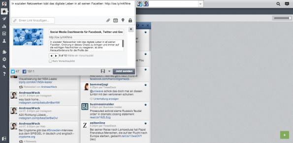 """In der HootSuite bekommt man verschiedene Möglichkeiten im Statusfeld angeboten, um die Updates zu erweitern: """"Bild oder Datei anhängen"""", """"Planungsfunktion"""", """"Standort hinzufügen"""" und """"Datenschutzeinstellungen"""". (Screenshot: HootSuite)"""
