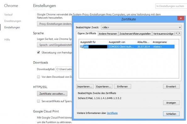 Chrome-Zertifikat-Auswahl