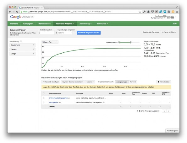 "Hier beginnt das ""Finetuning"" der AdWords-Kampagne. (Screenshot: adwords.google.com)"