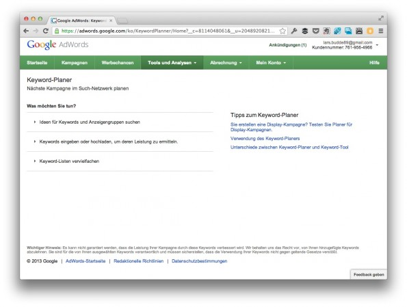 Google Keyword Planer: Der Nachfolger des AdWords Keyword Tool. (Screenshot: google.com)