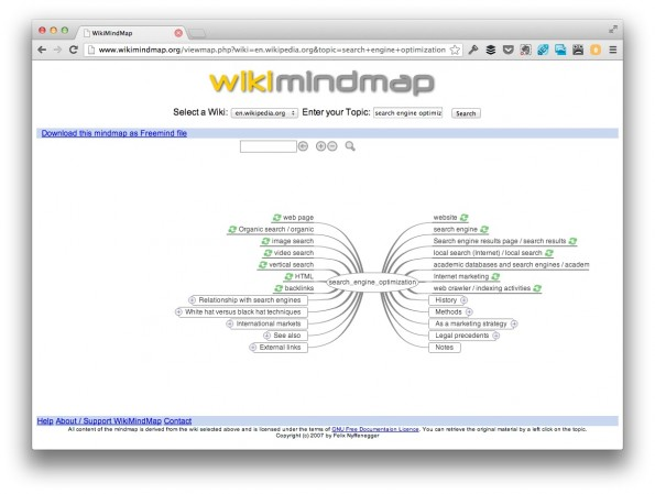 Mit WikiMindmap die Zusammenhänge von Themen erkennen. (Screenshot: wikimindmap.org)