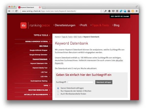 Ein weiterer Einblick in das Suchverhalten der Deutschen bietet die Keyword-Datenbank von rankingCHECK. (Screenshot: ranking-check.de)